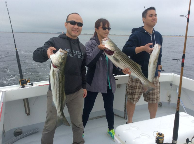 Striped bass fishing at its best.  Great anglers!